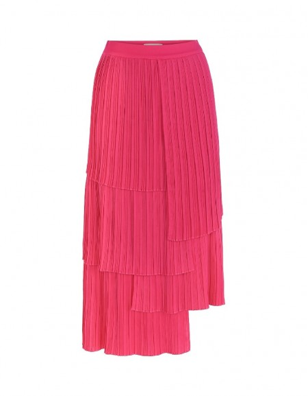 Pink Pleated Ruffeled Skirt