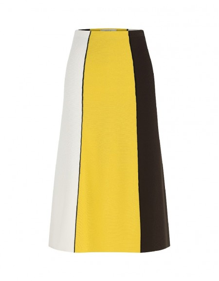 Yellow Knitted Striped Skirt