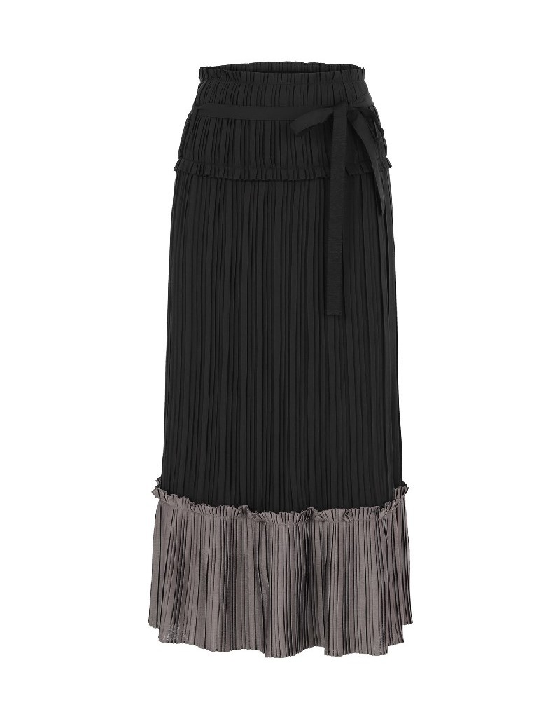 Black Pleated Black Skirt