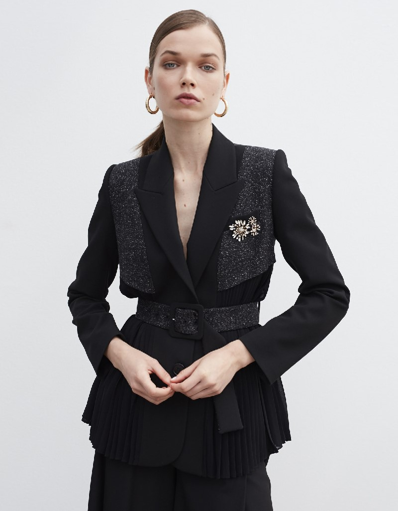 Black Brooch Accessory Jacket