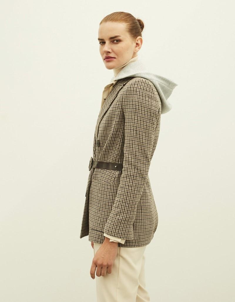 Beige Crowbar Pattern Jacket