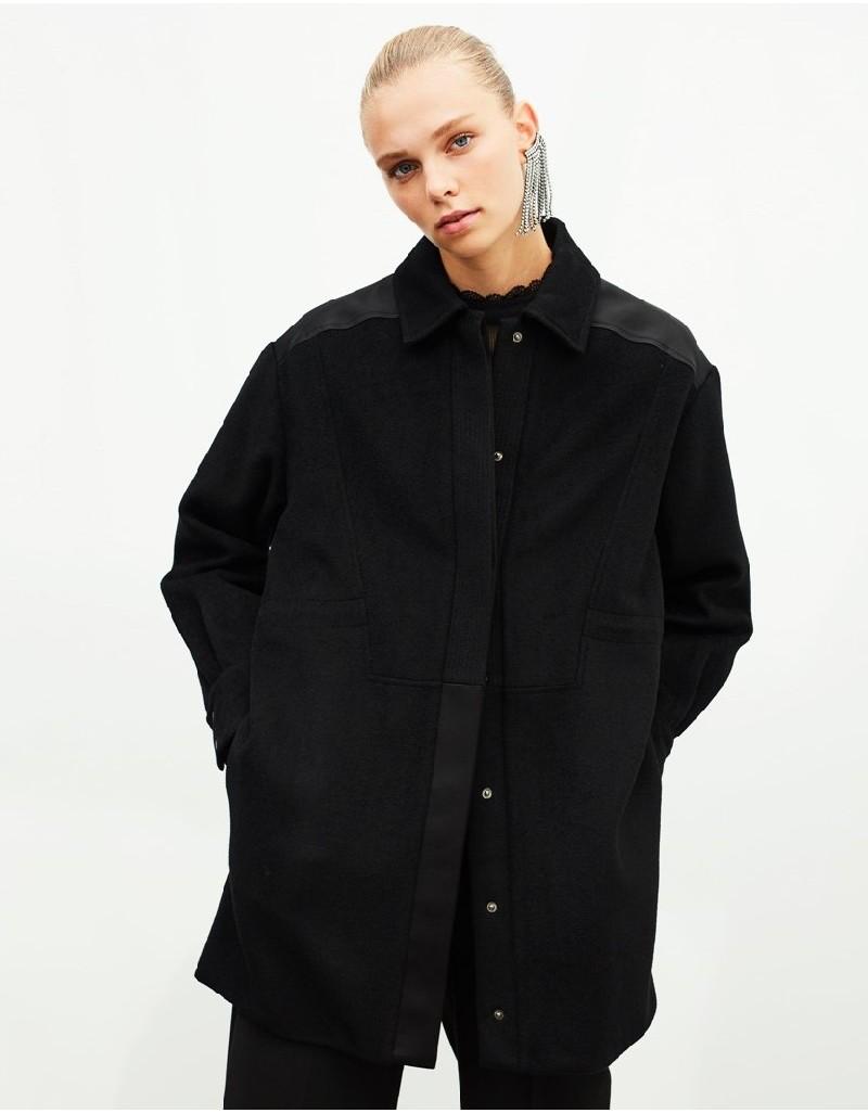Black Leather Mixed Jacket