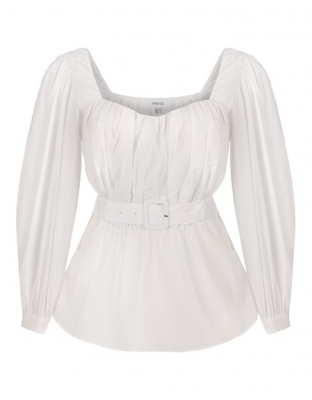 White Belted White Blouse