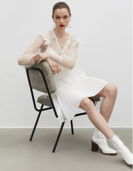White Sheer Blouse With Lace Trims