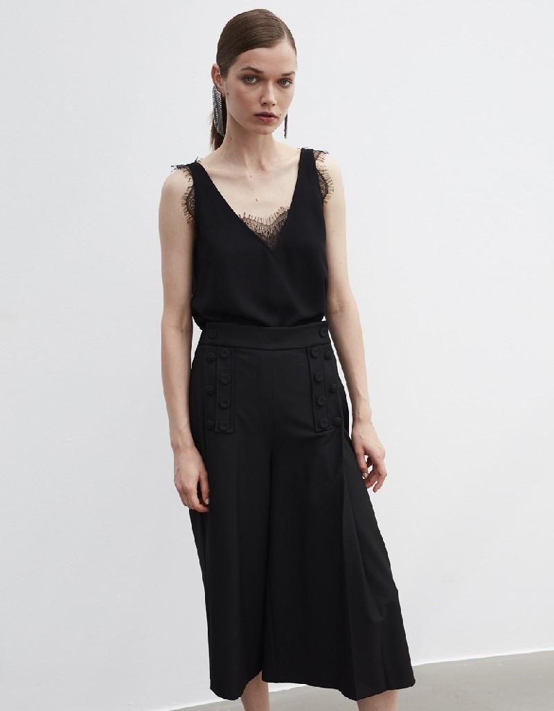 Black Lace-Trimmed Blouse