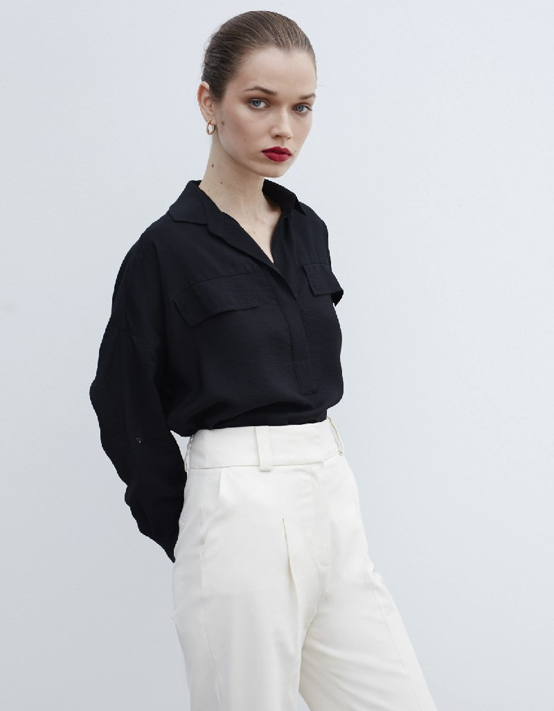 Black Shirt Collar Blouse