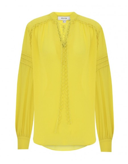 Yellow Round Neck Blouse With Tie