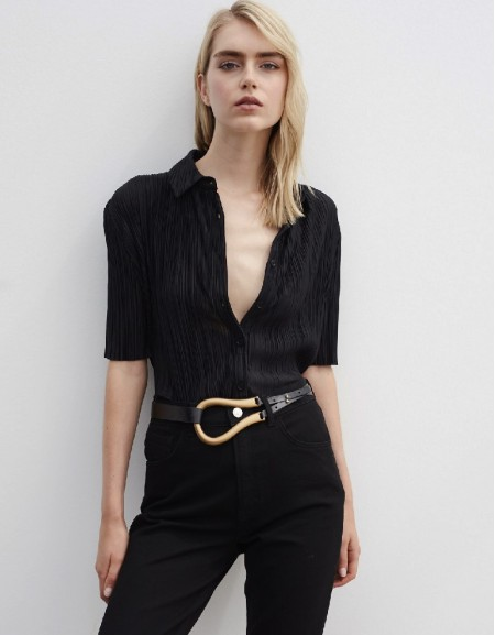 Black Pleated Shirt Black