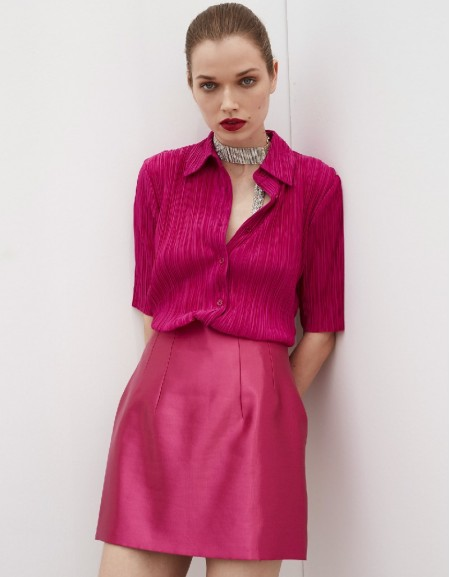 Pink Pleated Shirt Pink