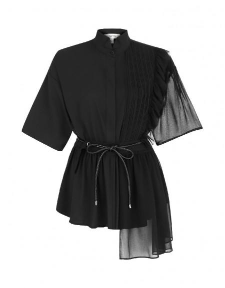 Black Fabric Mix Shirt