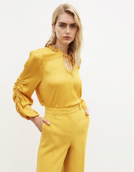 Yellow Stone Embroidery Blouse