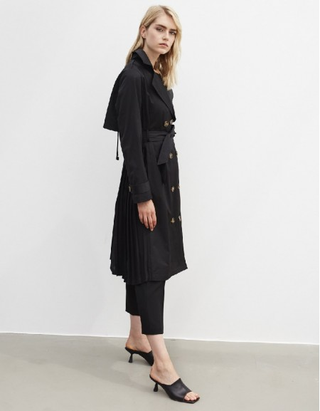 Black Trench Coat With Fabric Mix