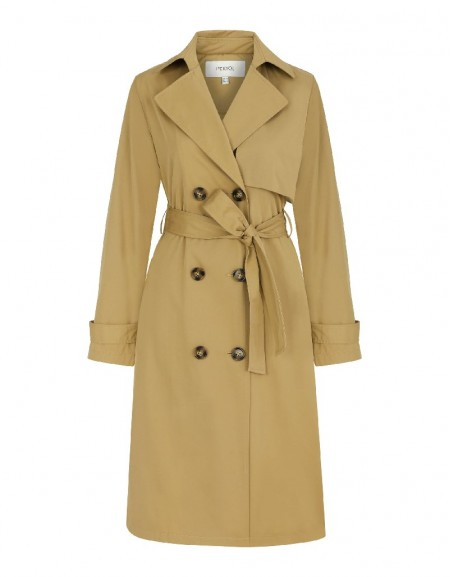 Beige Trench Coat With Fabric Mix