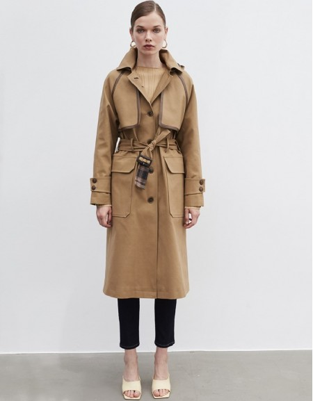 Natural Trench coat with fabric mix