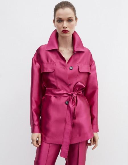 Pink Belted Satin Coat