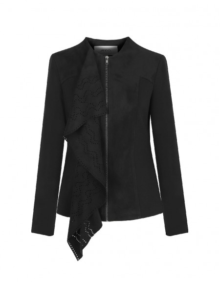 Black Laser Cut Suede Jacket