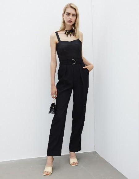 Black Fabric Mix Jumpsuit