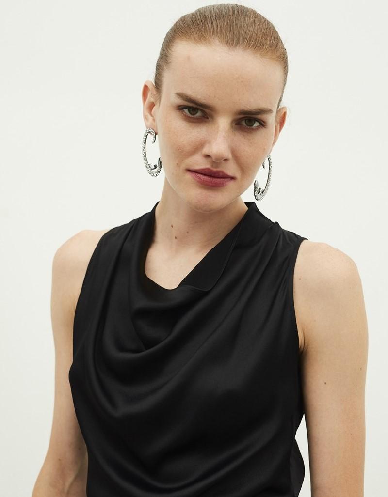 Black Cowl Collar Overalls