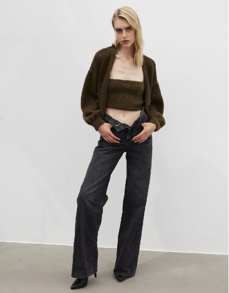 Brown Long High Waist Jeans