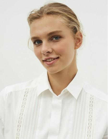 White Lace Striped Shirt