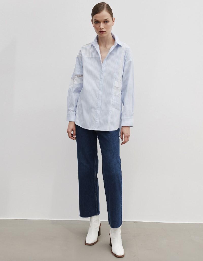 Blue Lace Striped Shirt