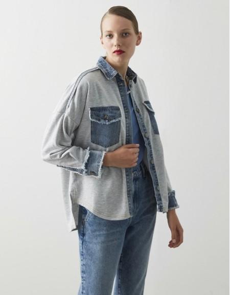 Gray Sweat Mix Denim Shirt