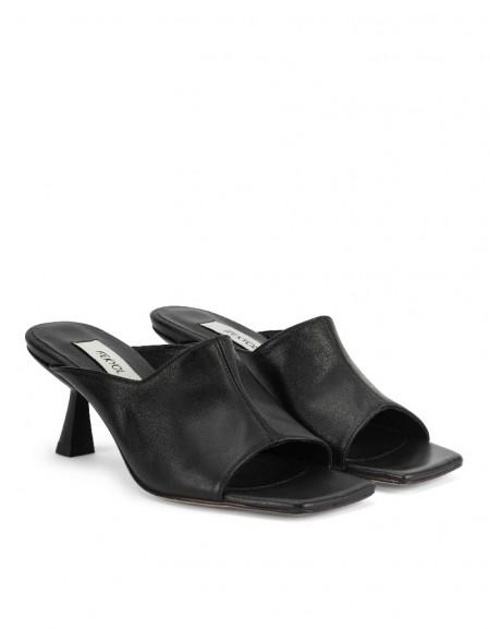 Black Square Cut Mule Shoes