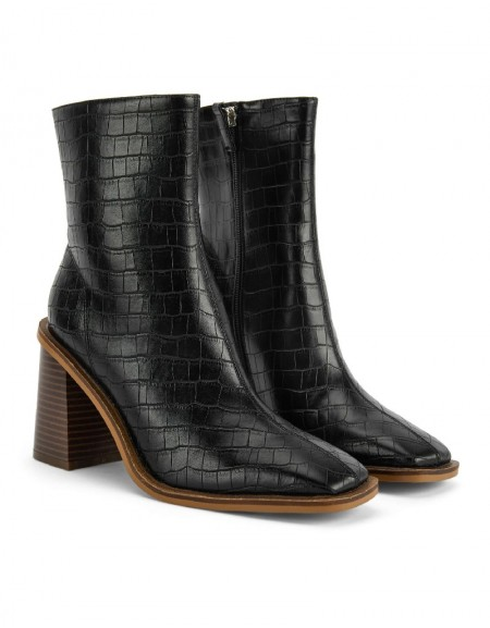 Black Square Cut Boots