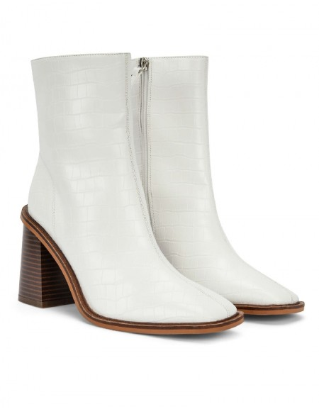 White Square Cut Boots