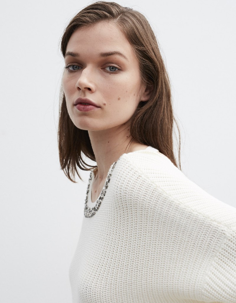 Beige Stone Embroidery Knitwear Around The Collar