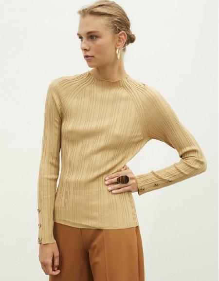 Brown Button Accessories Knitwear
