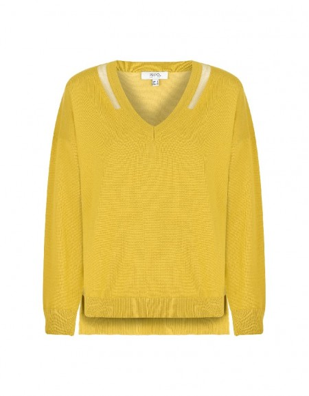 Yellow Transparent Collar Striped Knitwear