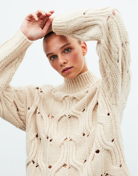 Beige Braided Sweater