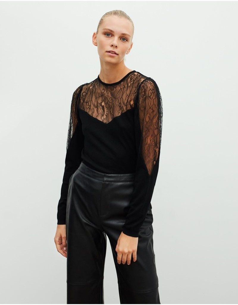 Black Lace Mix Knitwear