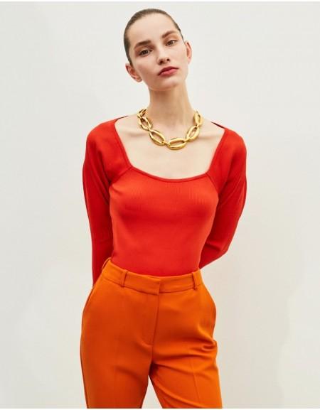 Orange Square Neck Knitwear