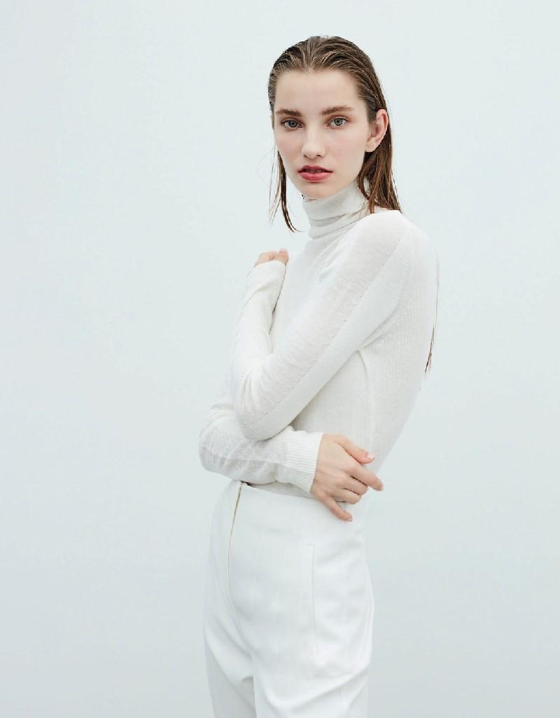 Beige Turtleneck Wool Knitwear