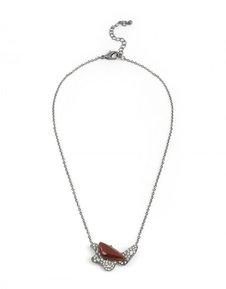 Silver Natural Stone Pendant Necklace