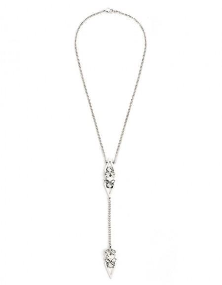Silver Stone Pendant Chain Necklace