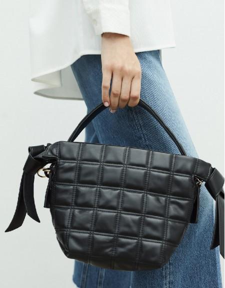 Black Quilted Form Sleeve Bag