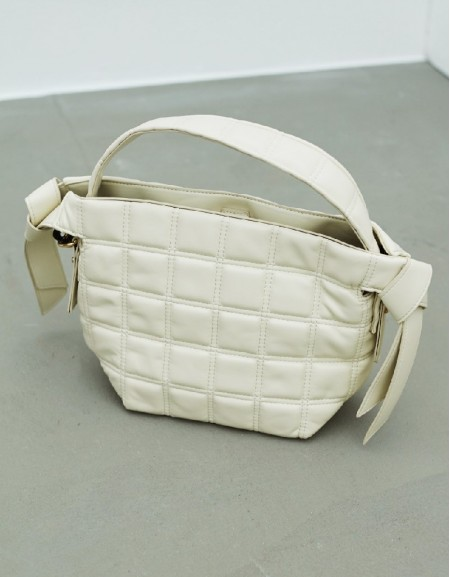 White Quilted Form Sleeve Bag