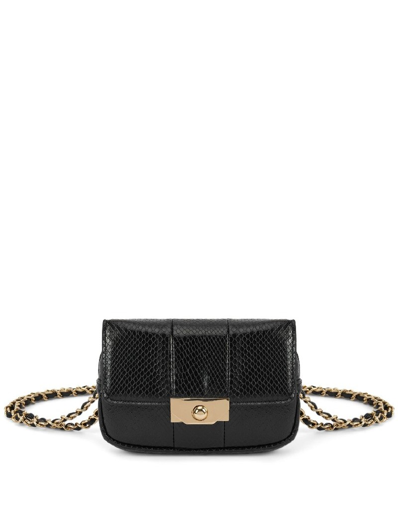 Black Croco Pattern Chain Hanger Bag