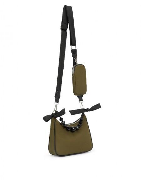 Khaki Bead String Detail Sleeve Bag