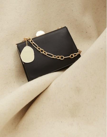 Black Chain Strap Detail Sleeve Bag
