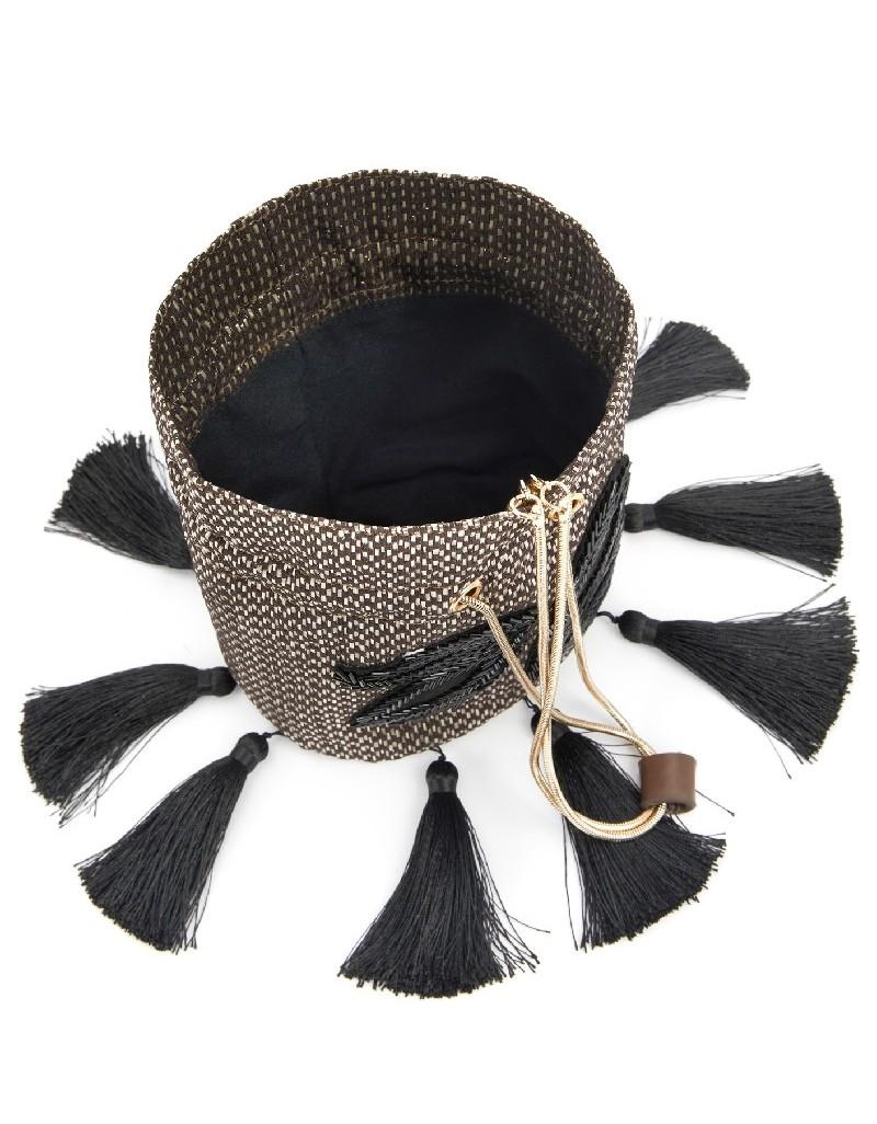 Black Tassel Detailed Straw Bag