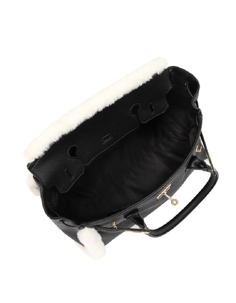Black Bag With Wool Accessories