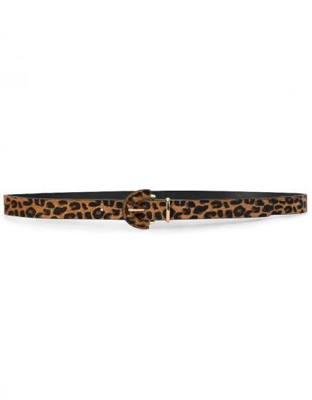 Yellow Thin Leopard Belt