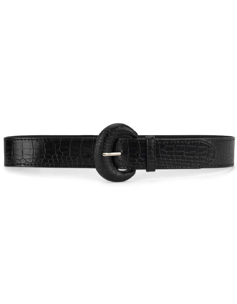 Black Crocodile Pattern Belt
