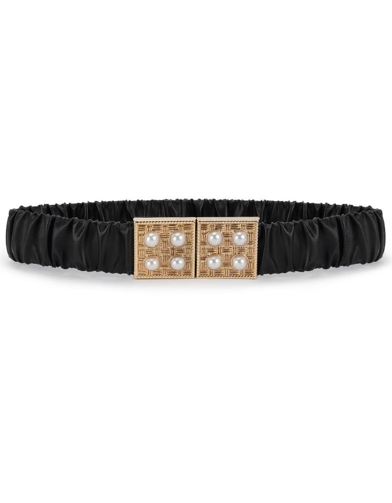 Black Gathered Belt