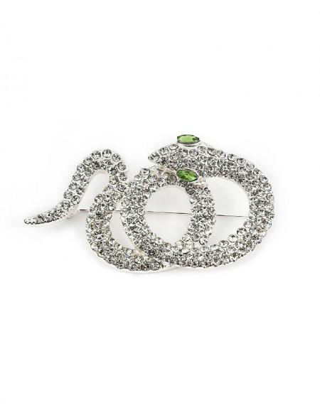 Silver Snake Figure Brooch