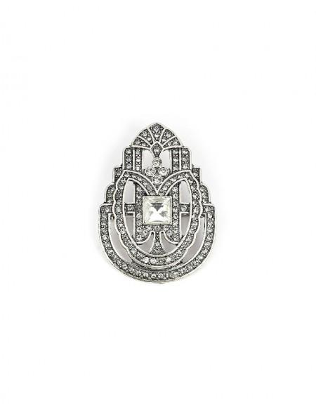 Silver Stone Typesetting Brooch